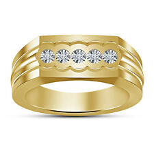 White Round Cubic Zirconia Gold Plated Women' Excellent Five Stone Band Ring