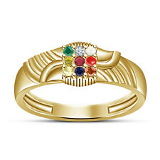 Multicolor Cubic Zirconia Yellow Gold Plated 925 Sterling Silver Navratna Ring