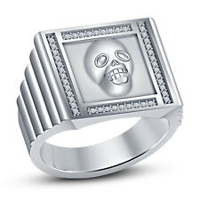 Solid .925 Silver White Rhodium Fn Round CZ Bewitching Men's Bikers Skull Ring