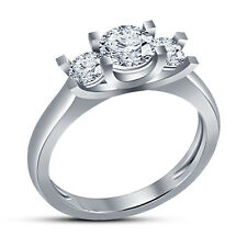 New!! White Rhodium Plated 925 Silver White CZ Dazzling Simple Three Stone Ring