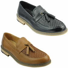 Mens Black Tan Woven Real Leather Tassel Loafers Smart MOD Vintage Driving Shoes