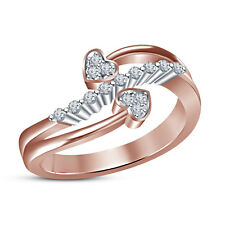 925 Silver Rose Gold Plated White Cubic Zirconia Elegant Fancy Ring For Women's