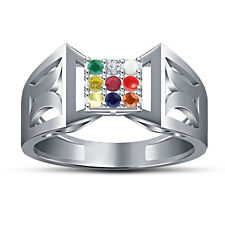 White Platinum Plated 925 Silver Multicolor Round CZ Beautiful Navratna Ring