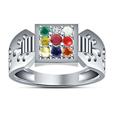 White Platinum Finished 925 Silver 9 Stone Multicolor CZ Navratna Ring For Men's