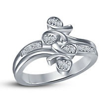 White Platinum Plated 925 Silver RD White CZ Fancy Women's Anniversary Ring