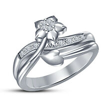 Round Cut Cubic Zirconia 925  Silver Women's Beautiful Flower And Leaf Ring