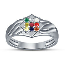 White Rhodium Plated 925 Silver Round Cut Multicolor CZ Stunning Navratna Ring