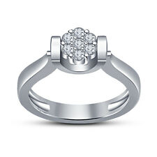 Flower Shape Women's Ring .925 Sterling Silver New White Platinum Fn RD White CZ