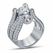 Simulated Diamond White Gold Fn 925 Silver Engagement Wedding Ring Free Gift