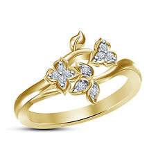 Flower & Leaf Shape Band Women's Ring RD Cut White CZ 925 Silver 14K Gold Plated