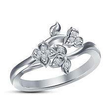 "New Platinum Plated .925 Silver  RD Cut White CZ  ""Flower & Leaf "" Shape Ring 7"