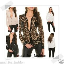 Sexy long sleeved blouse top with leather look and gold color buttons.