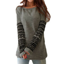A71 2016 New donne T Shirt stampato lungo manica Loose Tees t-shirt autunno Casu