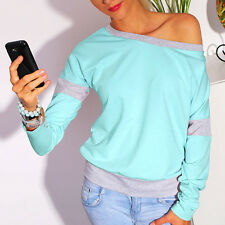 Q624 2016 New primavera Sexy donne Long Sleeve Loose Casual Off spalla Tees T-sh