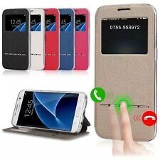 Smart Front Window View Flip PU Leather Case Cover For Samsung Galaxy S7/S7 Edge