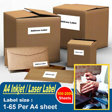 LABELS - SELF ADHESIVE STICKY A4 ADDRESS LABELS INKJET LASER COPIER PRINTER T
