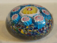 VTG Hand Blown Glass Millefiori Paperweight Flowers Murano Blue Yellow Pink E