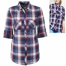 Marisota size 10 Cotton Check Shirt Long Roll up Sleeves Blue Red White Checked