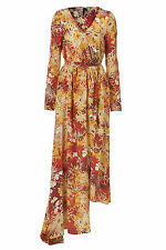 TOPSHOP ORIENTAL PRINT SILK WRAP DRESS BY BOUTIQUE size 6/8