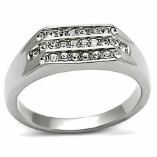 MEN'S .26 CT SIMULATED DIAMOND HIGH POLISHED STAINLESS STEEL 316 RING