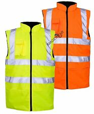 Hi Viz Vis Fleece Reversible Bodywarmer Waterproof Jacket Mens Work Gilet Vest
