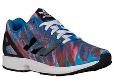 NEW MENS ADIDAS ORIGINALS ZX FLUX RUNNING SHOES TRAINERS BRIGHT BLUE / BLAC