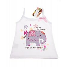 Girls Cotton sleeveless Vest/t-shirt/top - Elephant age 5 years up to 8 years