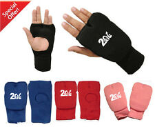 2Fit Karate Mitts Elasticated Cotton Martial Arts Gel Gloves Boxing MMA Training