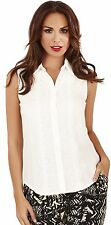 Classy Ladies Sleeveless Shirt with Lace and Hotfix Detail, White