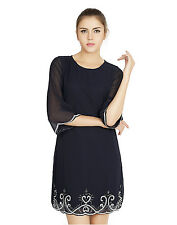 W.A.Y(We Are Young) Lounge Wear Navy Embellished SHORT DRESS for Women_4416_Navy