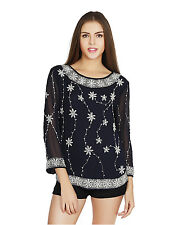 W.A.Y(We Are Young) Lounge Wear Navy embellished TOP for Women_5624_Navy
