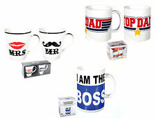 Coffee Tea Mug Cups 3 Design Mr & Mrs/Big Boss/Top Dad/Gift Her Him Father Boss