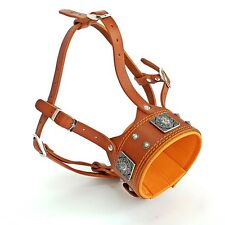 Genuine leather dog muzzle. Soft padded. Studded. Hand made! Made in Europe L XL