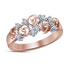 Sterling Silver Rose Gold Plated White Cubic Zirconia Cute Flower design Ring