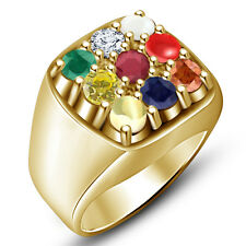 14K Gold Plated 925 Sterling Silver Men's New Fashionable Navratna Ring