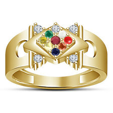 18K Gold Plated Pure 925 Sterling Silver Multicolor Round CZ Men's Navratna Ring