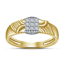 14K Gold Plated 925 Silver Round Cut White Cubic Zirconia Men's Attractive Ring
