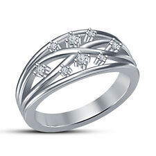 New Platinum Plated 925 Sterling Silver Cubic Zirconia Criss Cross Band Ring 6