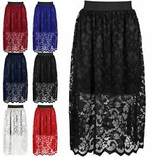 New Lace Midi Skirt Sexy Womens Floral Party Office Work Swing Skirt Size 8-26