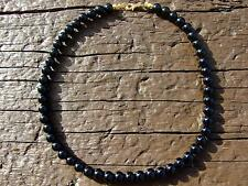 Black Onyx Natural Gemstone Necklace 8mm Beaded Gold 16-30inch Healing Chakra