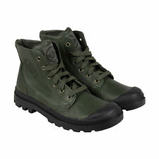 Palladium Pampa Hi Leather Mens Green Leather Casual Dress Boots Shoes