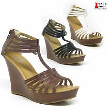 Women's Wedge Platform Brown White Black Strap Sandal High Heel Open Toe Sh