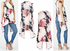 Womens Water Colour Floral Dip Hem Hi Neck Sleeveless Swing Top Split Back Dress