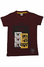 Branded Maroon  Round Neck    Printed T Shirt For Kids Boys