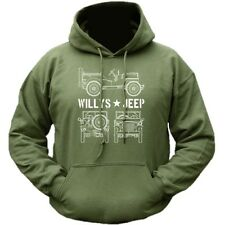 WILLYS JEEP HOODIE FORD MENS SWEAT TOP MILITARY WW1 WW2 AMERICAN BRITISH ARMY