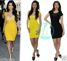 Ladies Black Mini Dress Yellow Tunic Bodycon Mesh Insert Padded Pencil Short New