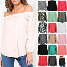 Ladies Long Sleeve Off The Shoulder Womens Elastic Front Buttons Bardot T Shirt