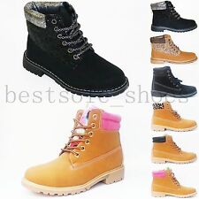 CHILDREN GIRLS KIDS BOYS GRIP SOLE LACE UP FLAT ANKLE BOOTS TRAINERS SHOES SIZE