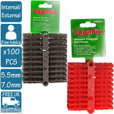 7MM 5.5mm RED BROWN PLASTIC HEAVY Duty WALL PLUGS Fixing Exterior PACK OF 100 PC