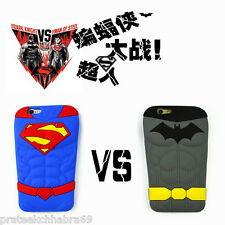 IPhone Case-3D Case Cartoon SuperMan/Batman Silicone Rubber Back Cover Case